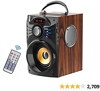 EIFER Portable Bluetooth Speakers Subwoofer Heavy Bass Wireless Outdoor/Indoor Party Speakers Line in Speakers Support Remote Control FM Radio TF Card LCD Display for Home Party Phone (Brown)