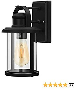 DEWENWILS Outdoor Wall Light, Black Wall Lantern with E26 Socket, Clear Glass Shade, Outdoor Light Fixtures Wall Mount for Garage, Porch, Yard, Weather Resistant, ETL Listed