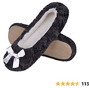 MIXIN Women's Ballet Style Slippers Fleece Lined Indoor House Shoes Lightweight Ballerina Flats for Travel,Plane Shoes