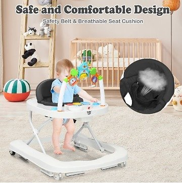 Babyjoy 2-in-1 Foldable Baby Walker Adjustable Heights Detachable Toy Tray BlueGreyRed