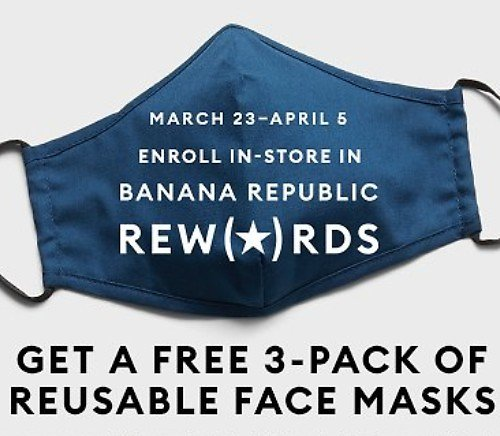 Free 3-Pack Reusable Face Masks (In-Store)