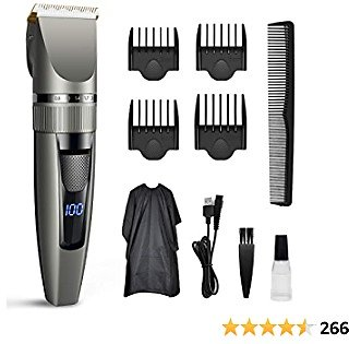 2021 Newest Hair Clippers, Qhou Professional Hair Trimmer for Men, Corded/Cordless USB Rechargeable Clippers Set Electric Barber Home Hair Cutting Kit Beard Trimmer for Men with Combs and Cape- Gray