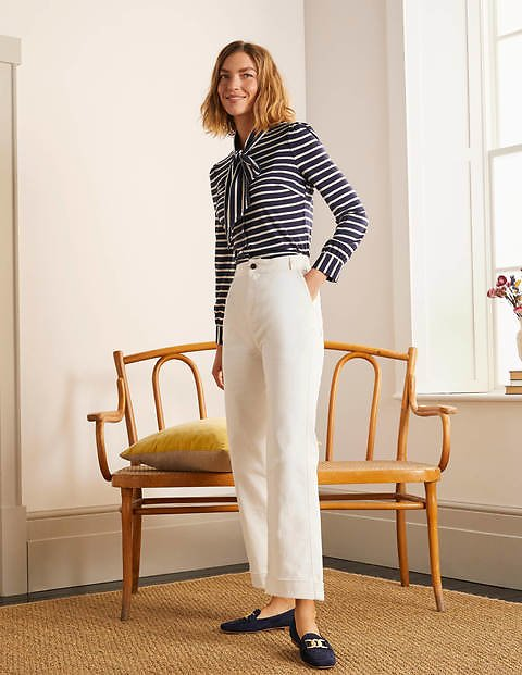 Cropped Turn-Up Jeans - Ecru | Boden US