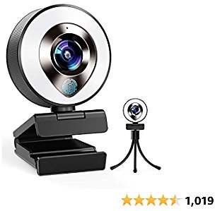 2021 CASECUBE FHD 1080P Webcam with Microphone and Ring Light,Plug and Play Web Camera,Adjustable Brightness,Privacy Protection,
