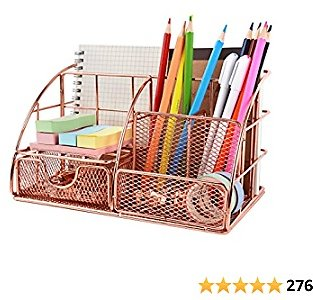 Rose Gold Desktop Organizer, Cute Desk Caddy Mesh Desk Accessories, Office Supplies Holder with Drawer for Office, Home and Dorm