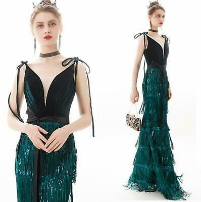 Trendy V Neck Sequins Fringe Mermaid Dresses Evening Party Cocktail Prom Gown