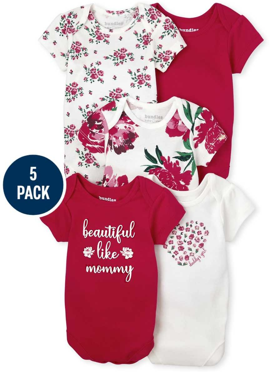 Baby Girls Floral Bodysuit 5-Pack + F/S