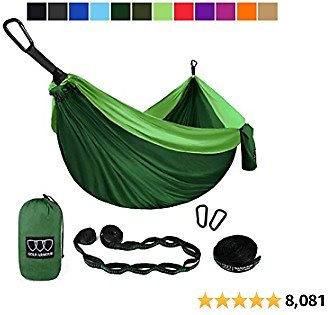 Gold Armour Camping Hammock - Extra Large Double Parachute Hammock (2 Tree Straps 32 Loops, 29 Colors/Patterns) USA Brand Lightweight Nylon Adults Kids, Camping Accessories Gear (Green)