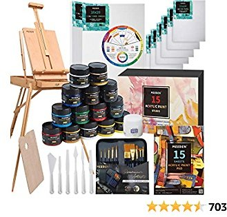 MEEDEN Great Deluxe Value Artist Acrylic Painting Set with Solid Beech Wood French Easel, 15-100ML(3.38 Oz) Acrylic Paints, 10- Acrylic Paintbrushes, 2-16