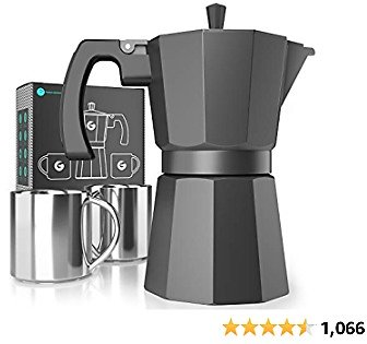 Coffee Gator Moka Pot, Stovetop Espresso Maker, Includes 2 Stainless Steel 3oz Coffee Pots, 6 Cup (12oz) Brewing Capacity