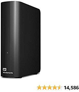 WD 10TB Elements Desktop Hard Drive HDD, USB 3.0, Compatible with PC, Mac, PS4 & Xbox - WDBWLG0100HBK-NESN
