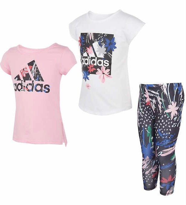 Adidas Kids' 3-piece Set, Pink & White