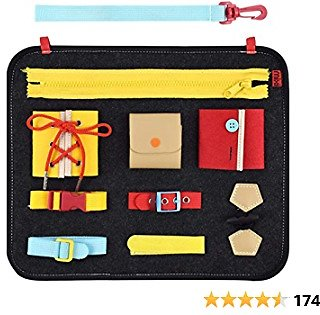 MIXI Toddler Busy Board, Montessori Basic Skills Toys for Toddlers, Fine Motor Skills Toys Educational Learning Toys for 1 2 3 4 5 6 Years Old Toddlers