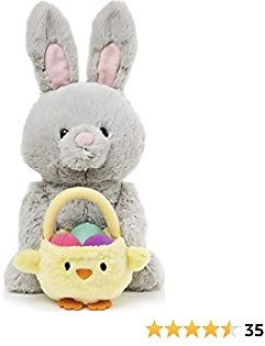 GUND Amazon Exclusive Easter Bunny with Basket, Gray, 10