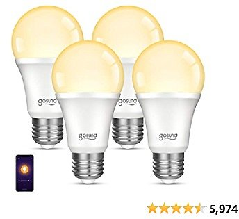 Smart Light Bulb, Gosund Dimmable WiFi LED Light Bulbs That Works with Alexa Google Home, E26 A19 Warm White 2700K Bulb, No Hub Required, 8W (75W Equivalent), 4 Pack