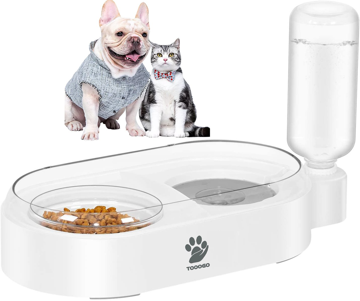 TOOOGO 2 in 1 Automatic Gravity Water Bowl & Food Bowl Set, Detachable No-Spill Pet Water Dispenser Bottle and Glass Feeder Bow