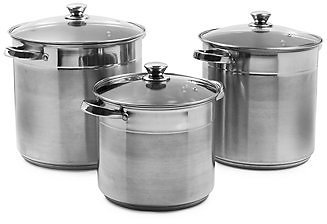 3-Pc. Stainless Steel Stock Pots with Lids