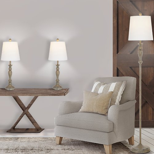 Better Homes & Gardens Modern Farmhouse 3-Pack Table & Floor Lamp Set