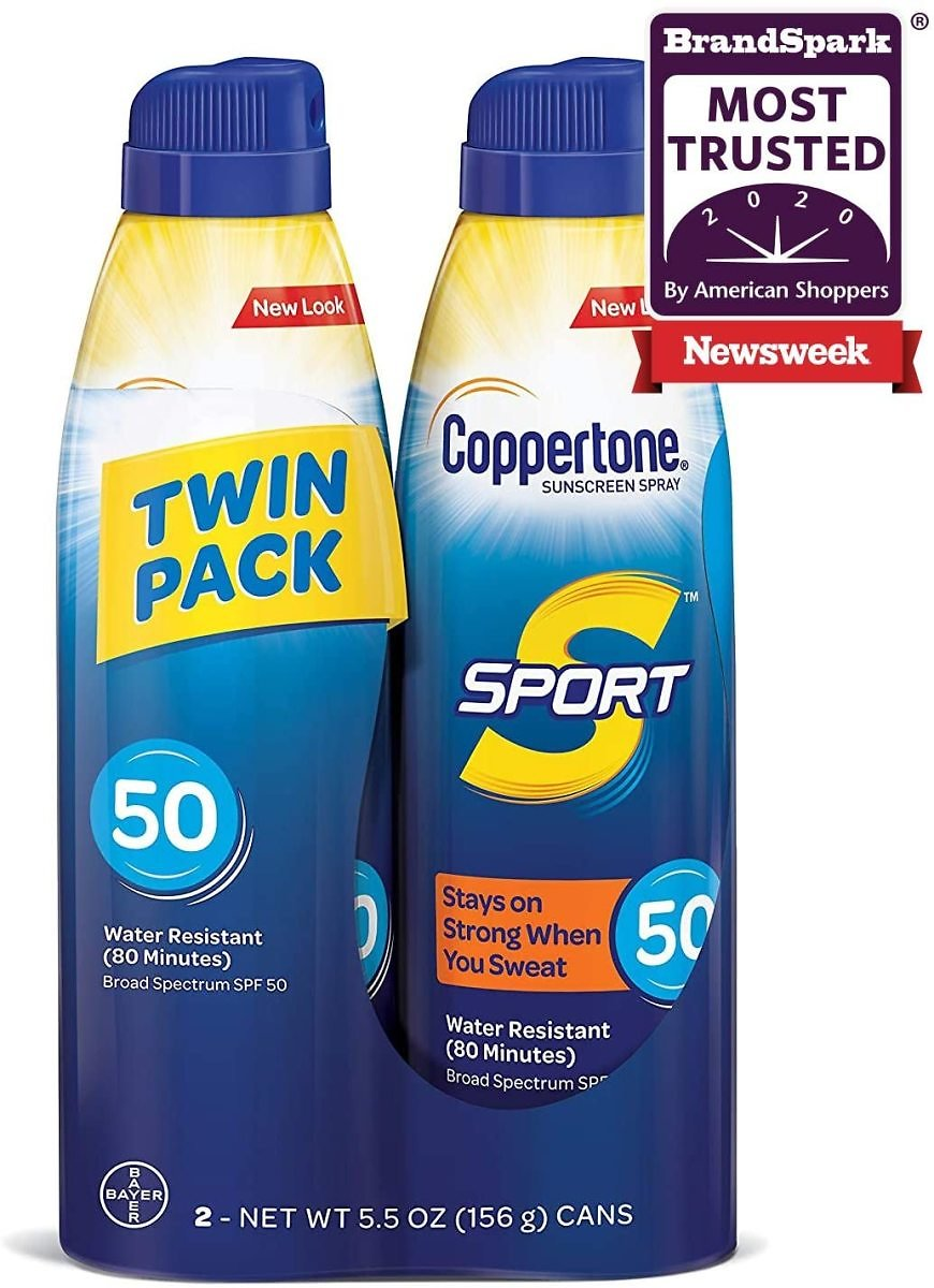 2-Pack Coppertone Sport Continuous Sunscreen Spray Broad Spectrum SPF 50 (5.5 Ounce Per Bottle)