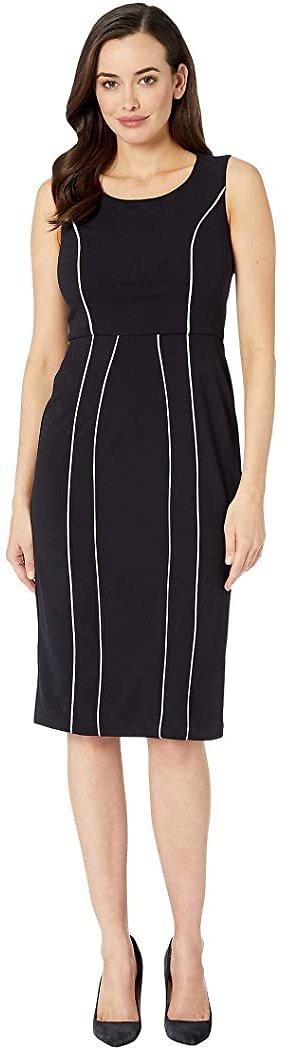 Stretch Knit Crepe Sheath Dress with Contrast Piping