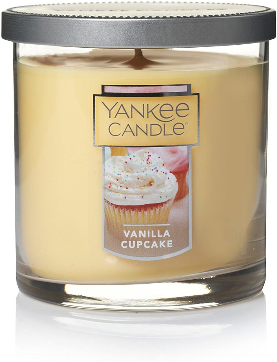 Yankee Candle Small Tumbler Jar Candle Vanilla Cupcake Scented Candle Premium Paraffin Grade Candle Wax with Up to 55 Hour Burn Time