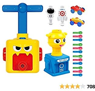 LiKee Balloon Launcher & Powered Car Toy Set Aerodynamic Cars Racers Party Supplies Preschool Educational Science Stem Toys with Manual Balloon Pump for Kids Boys Girls 3+ and Classroom (Yellow Monster)