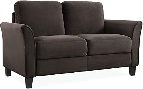 Lifestyle Solutions Austin Curved-Arm Loveseat, Coffee