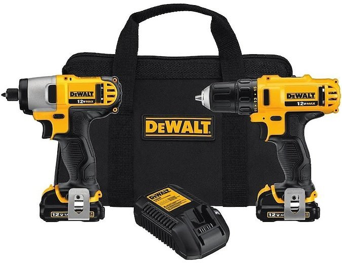 DEWALT 2-Tool 12V MAX LI-ION Cordless Drill/Driver + Impact Driver Combo Kit with Soft Case (Charger Included and 2.0Ah Battery Included)