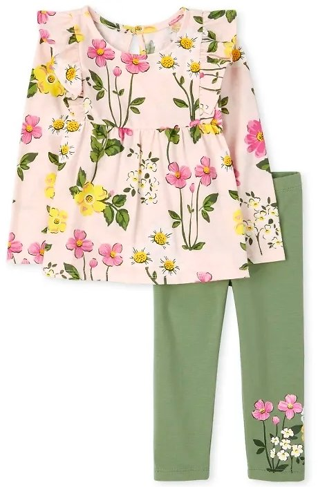 Toddler Girl Floral Ruffle 2-Piece Set + F/S