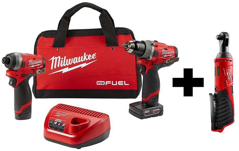 Milwaukee M12 FUEL 12-Volt Li-Ion Brushless Cordless Hammer Drill and Impact Driver Combo Kit (2-Tool)w/ M12 3/8 In. Ratchet-2598-22-2457-20