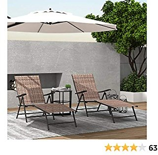 Finefind Adjustable Chaise Lounge Chair Recliner Outdoor Folding Lounge Chair Chaise Lounge Chair Recliner Patio Pool Sun Loungers Chair New, 2 Packs