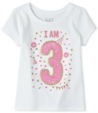 Baby and Toddler Girls Birthday Glitter I Am 3 Graphic Tee