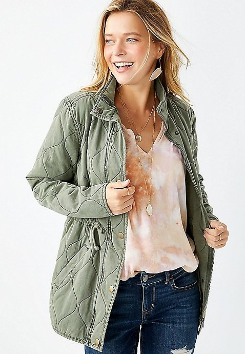Maurices Green Quilted Cinched Waist Jacket