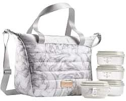Fit and Fresh Mayan Lunch Bag Gray Marble - Office Depot