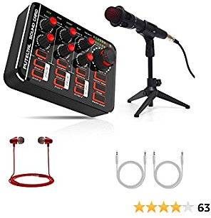 Compact Live Sound Card with Microphone Set, PUTELTAL with Drums Karaoke