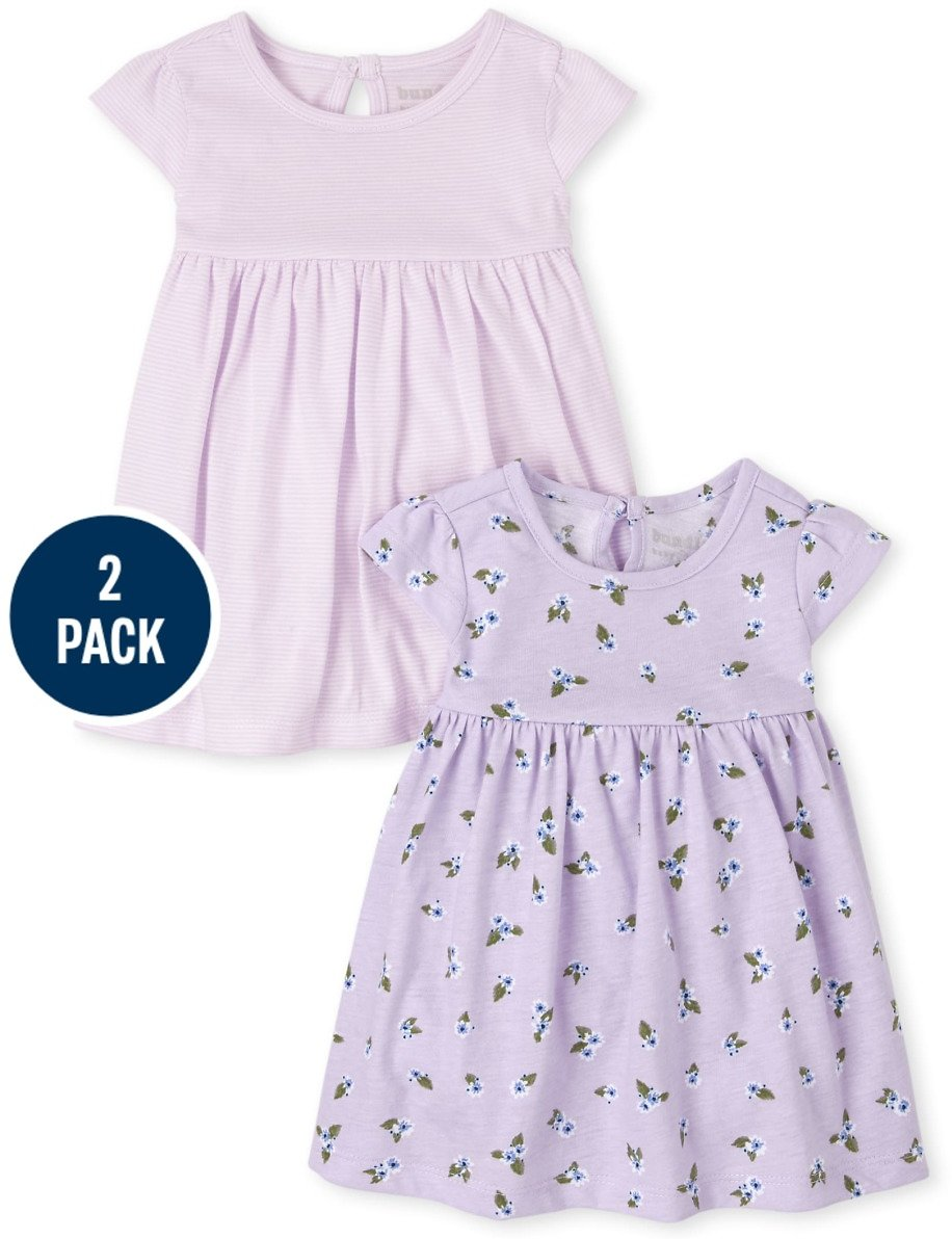 Baby Girls Floral Striped Bodysuit 2-Pack Dress + F/S