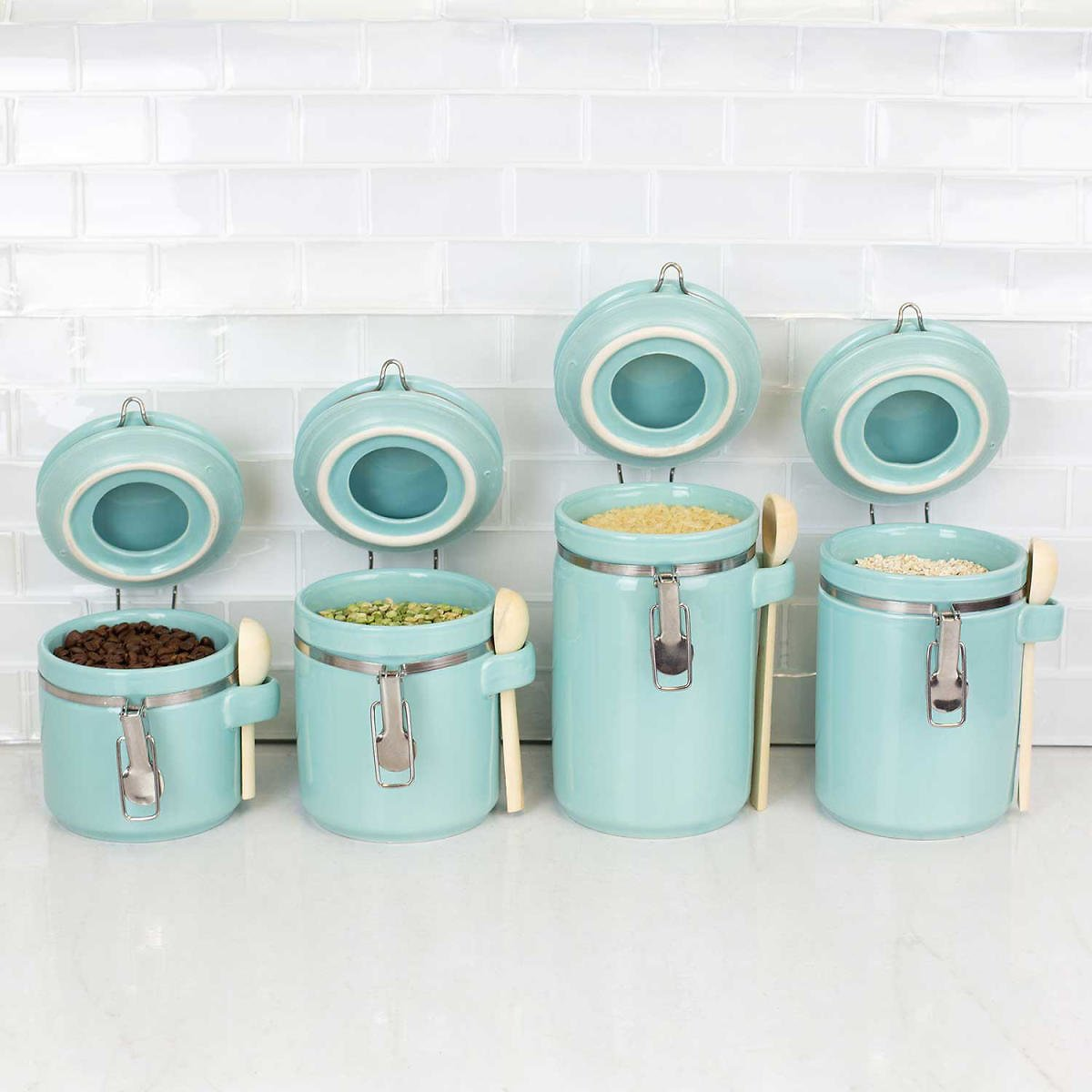 Ceramic Canisters with Air-Tight Clamp-Top Lids and Wooden Spoons, 4-Piece Set (4 Colors)
