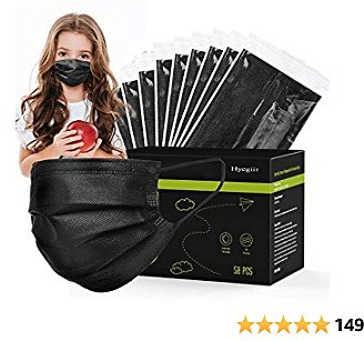 100 Pack 3 Ply Kids Black Disposable Face Masks, Individually Wrapped Non-woven Face Masks For Boys and Girls