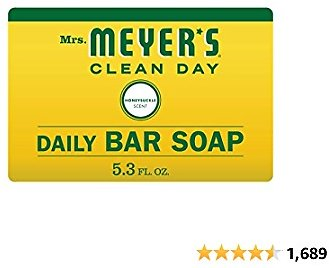 Mrs. Meyer's Clean Day Bar Soap, Use As Body Wash or Hand Soap, Cruelty Free Formula Made with Essential Oils, Honeysuckle Scent, 5.3 Oz, 1 Bar