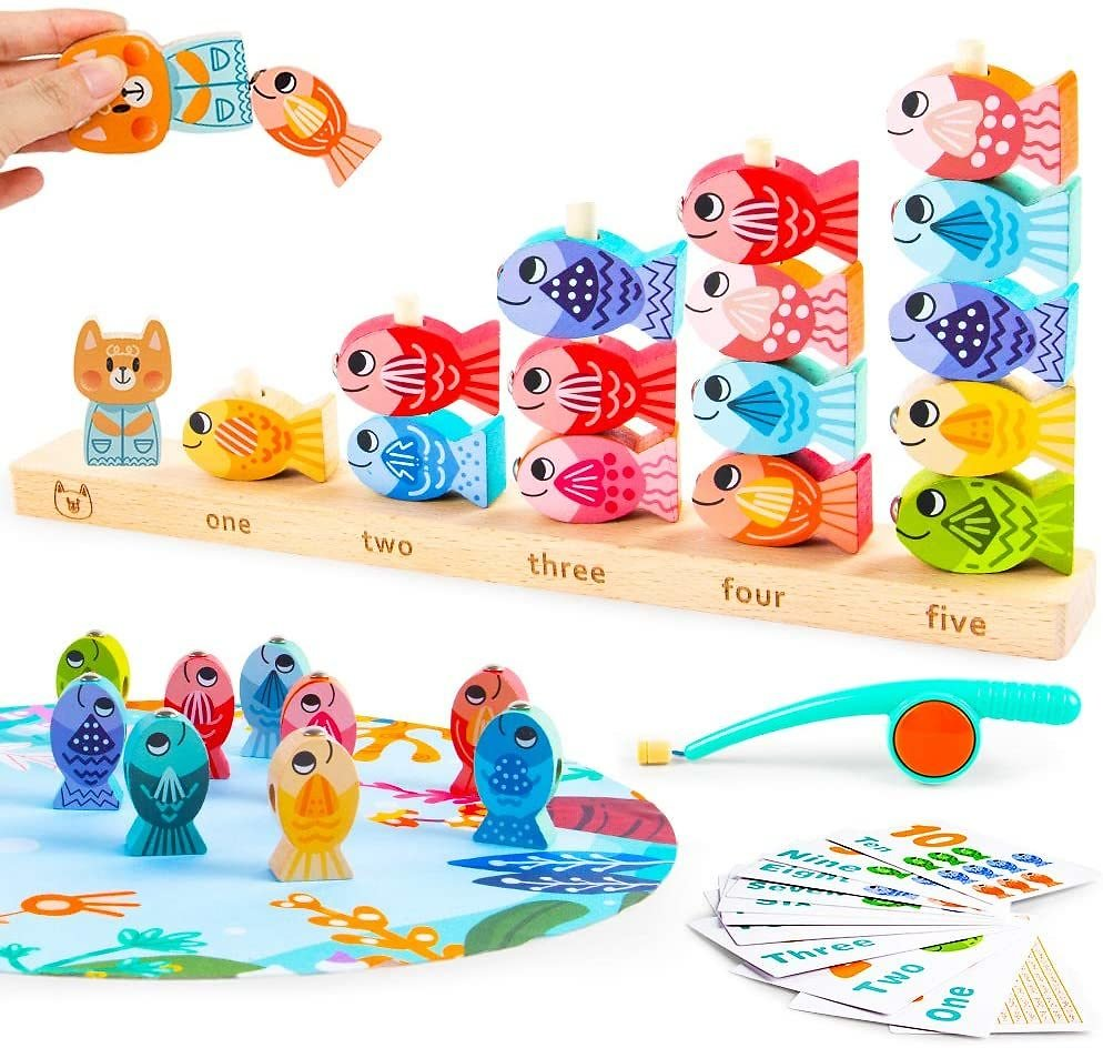 VATOS Wooden Magnetic Fishing Games Toy for Toddlers Educational Learning Toys for 3 4 5 Year Old Montessori Fishing Toys for Kids Math Counting Skills Preschool Fish Games Toy for Boys Girls Gifts: Toys & Games