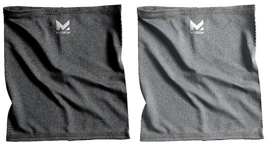 Mission Youth-Size Cooling Neck Gaiter (2-Pack) Black And Charcoal 5161