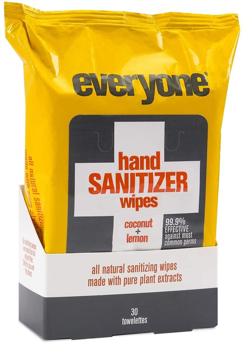 30 Count. Everyone Hand Sanitizing Wipes: Coconut and Lemon