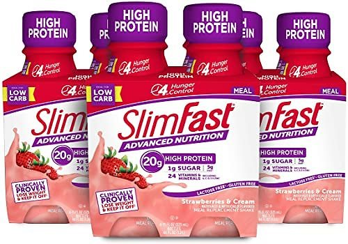 12 Count, SlimFast Advanced Nutrition Meal Replacement Protein Shake - Strawberries & Cream, 11 Fl. Oz. Each