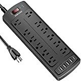 Belkin 12-Outlet Pivot-Plug Power Strip Surge Protector, 8ft Cord(4,320 Joules): Home Audio & Theater