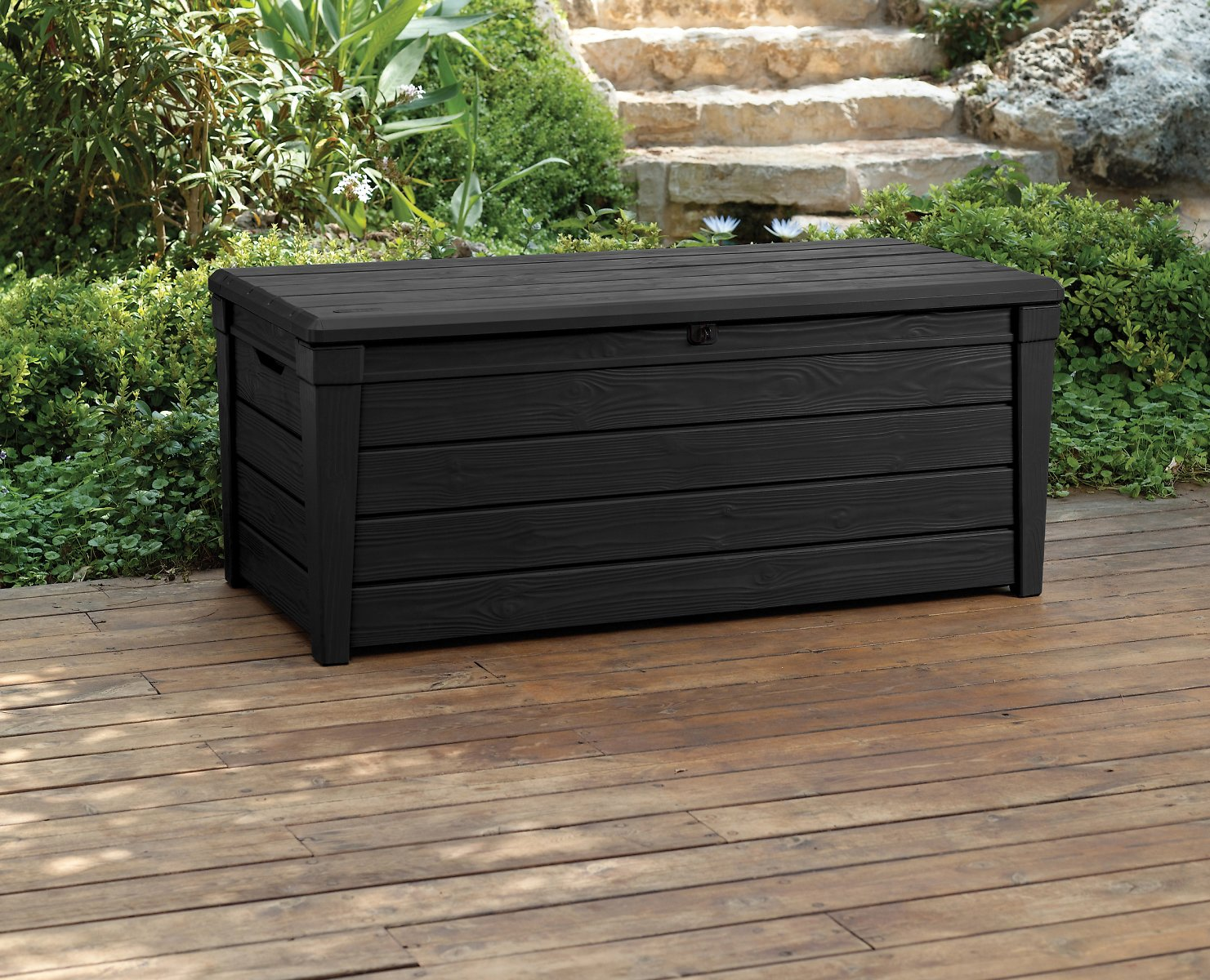 Keter Brightwood Outdoor Plastic Deck Box, All-Weather Resin Storage, 120 Gal, Anthracite Gray