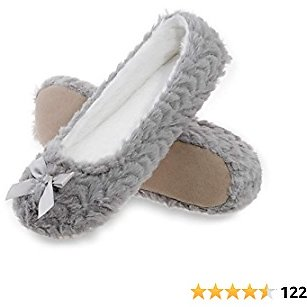MIXIN Women's Ballet Slippers Fleece Lined Indoor House Shoes Lightweight Ballerina Flats for Travel,Plane Shoes