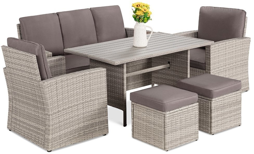 Best Choice Products 7-Seater Conversation Wicker Dining Table, Outdoor Patio Furniture Set w/ Cover - Gray/Gray