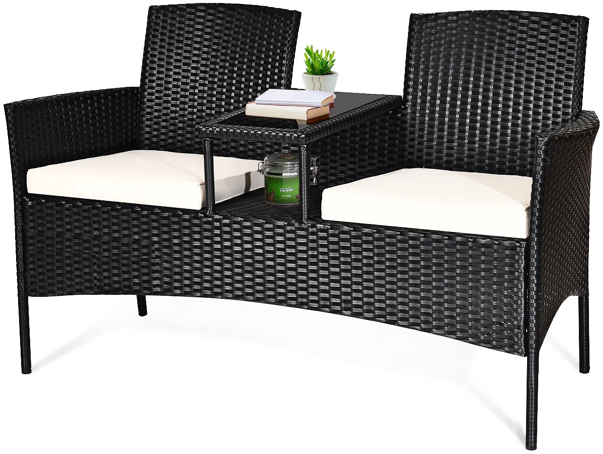 Costway Costway Patio Rattan Conversation Set Seat Sofa Cushioned Loveseat Glass Table Chairs