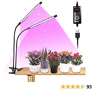 LED Grow Lights for Indoor Plants, JESLED Dual Head 132LEDs 9 Dimmable Levels Full Spectrum Plant Growing Lamp, Adjustable Gooseneck, 3 6 9 12H Timer, 4 Switch Modes