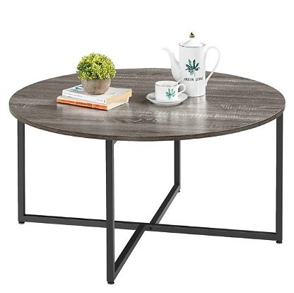SmileMart Round Coffee Table Cocktail Table with Metal Legs for Living Room
